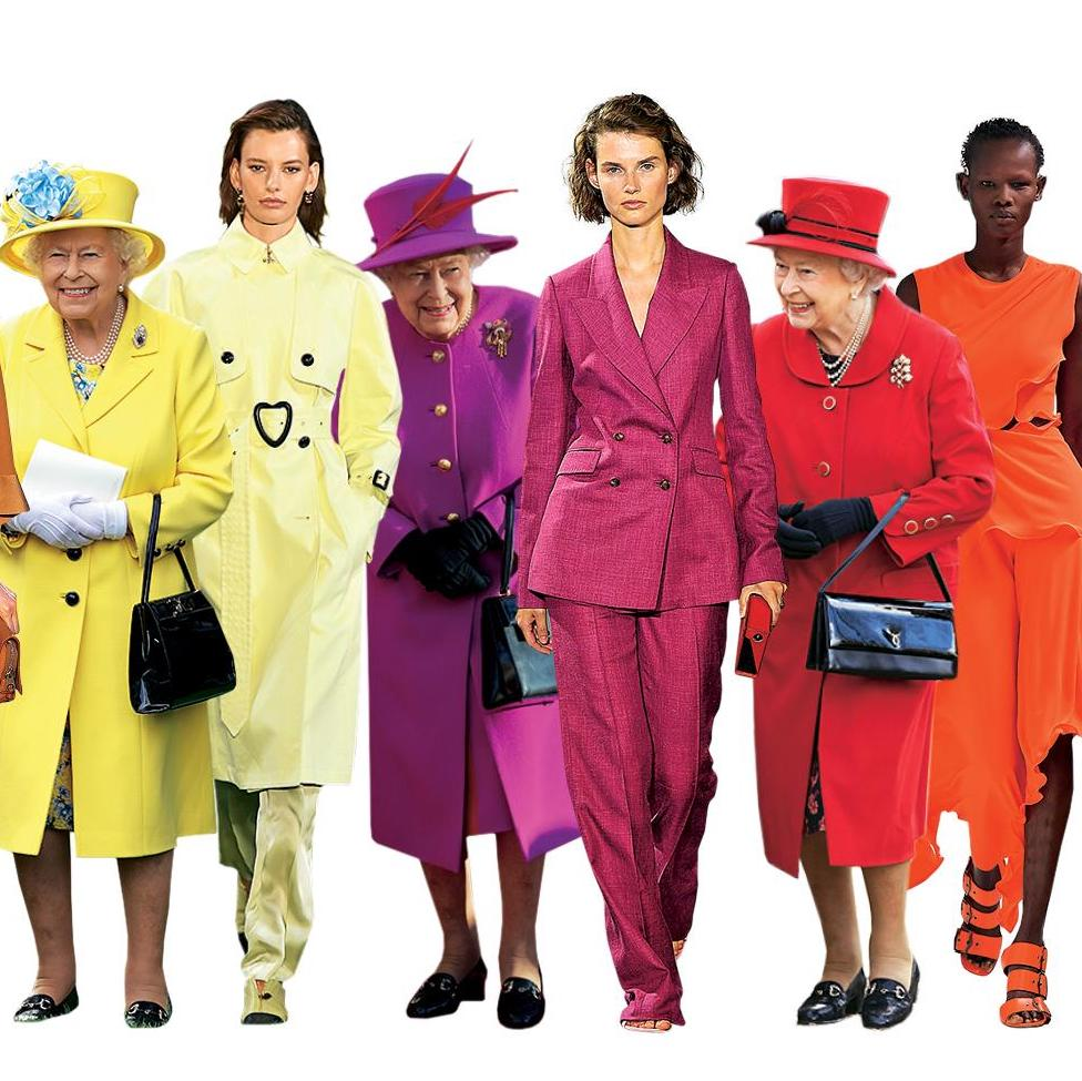 The queen dressed in columns of colour